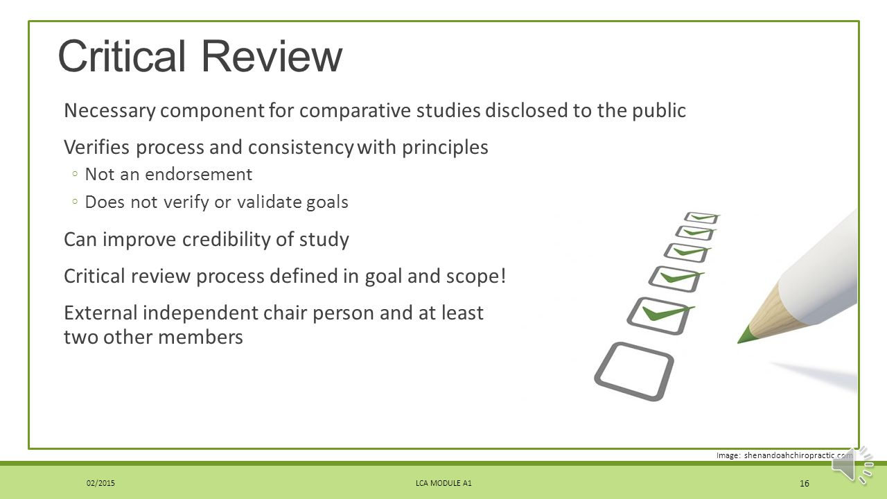 Critical Review Necessary component for comparative studies disclosed to the public. Verifies process and consistency with principles.