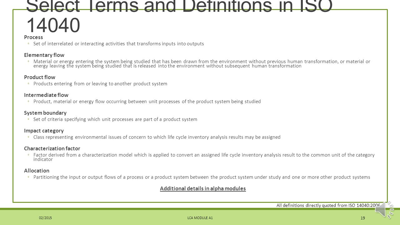 Select Terms and Definitions in ISO 14040