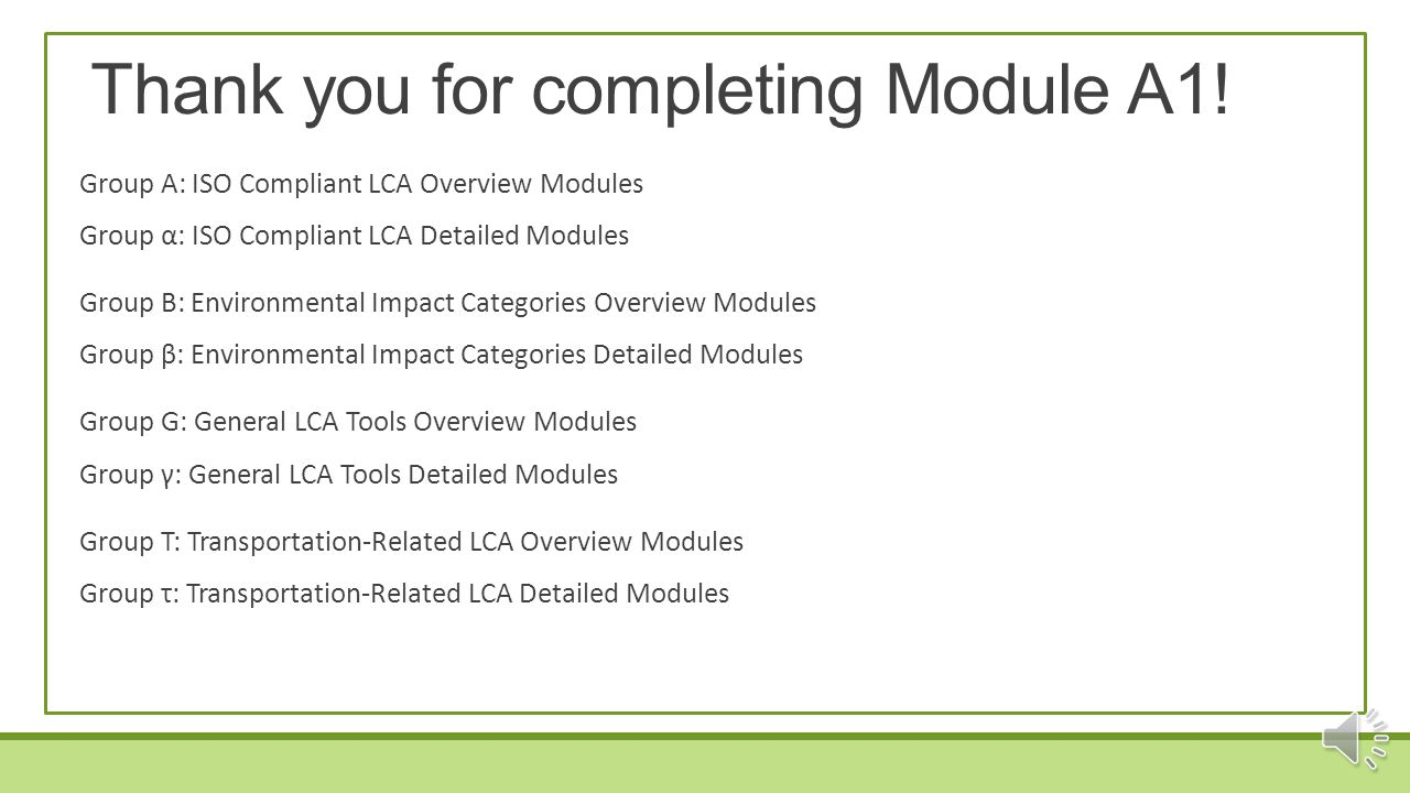 Thank you for completing Module A1!