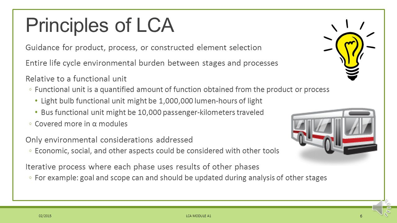 Principles of LCA Guidance for product, process, or constructed element selection.
