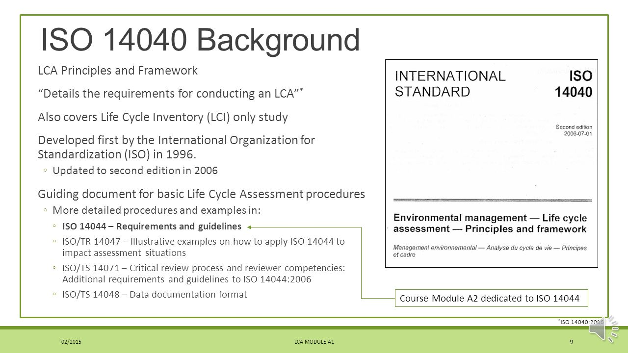ISO 14040 Background LCA Principles and Framework