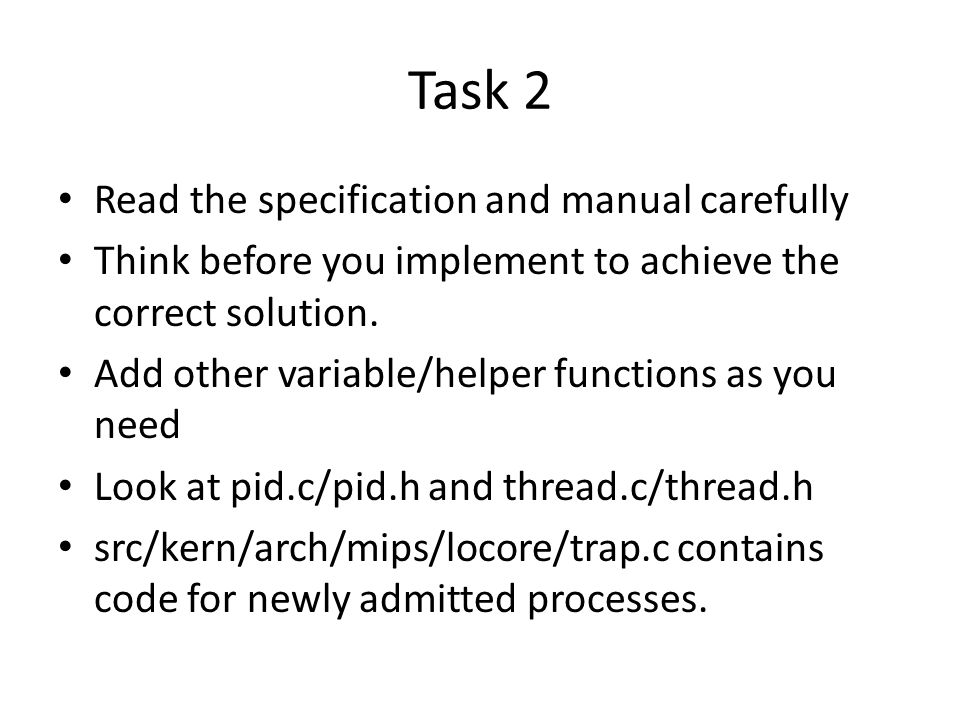 Task 2 Read the specification and manual carefully
