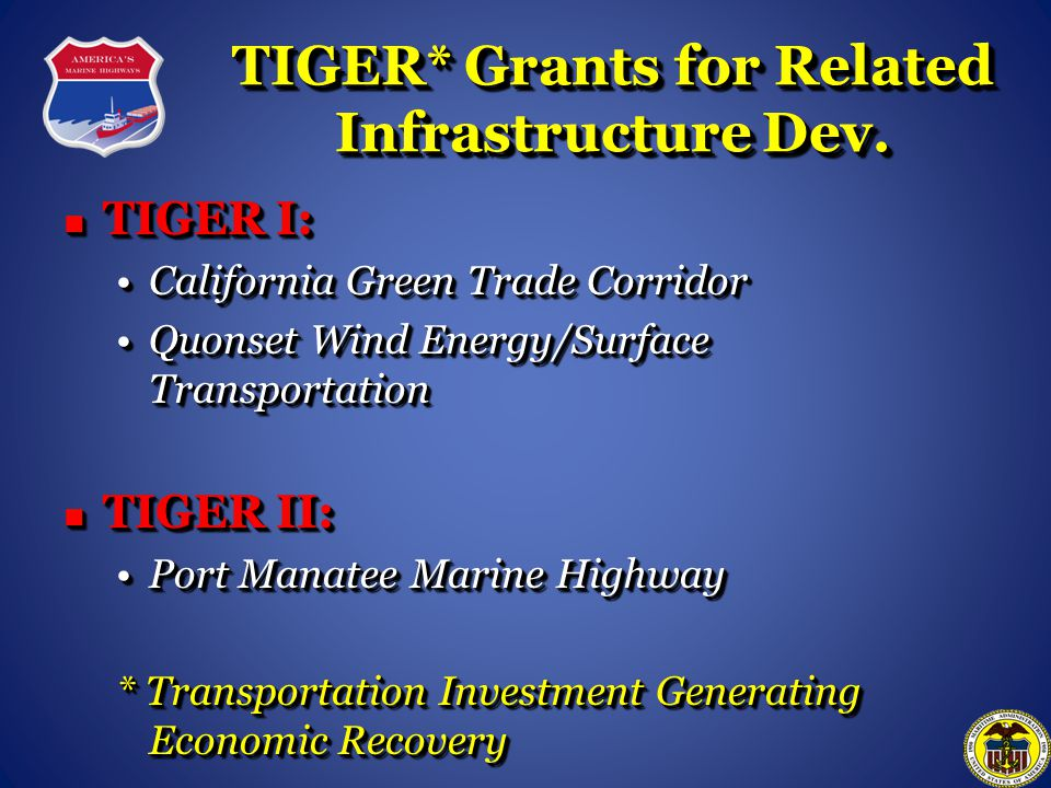 TIGER* Grants for Related Infrastructure Dev.