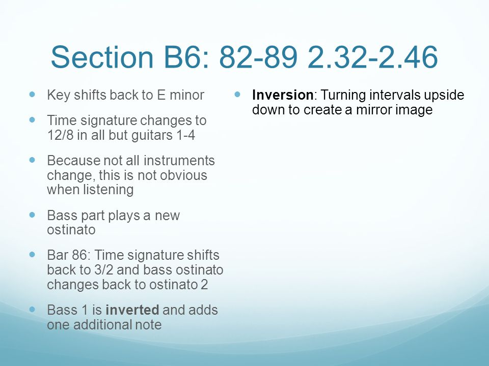 Section B6: 82-89 2.32-2.46 Key shifts back to E minor