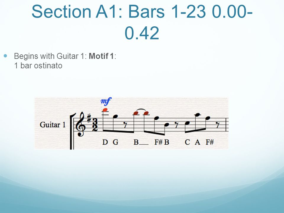 Section A1: Bars 1-23 0.00-0.42 Begins with Guitar 1: Motif 1: 1 bar ostinato