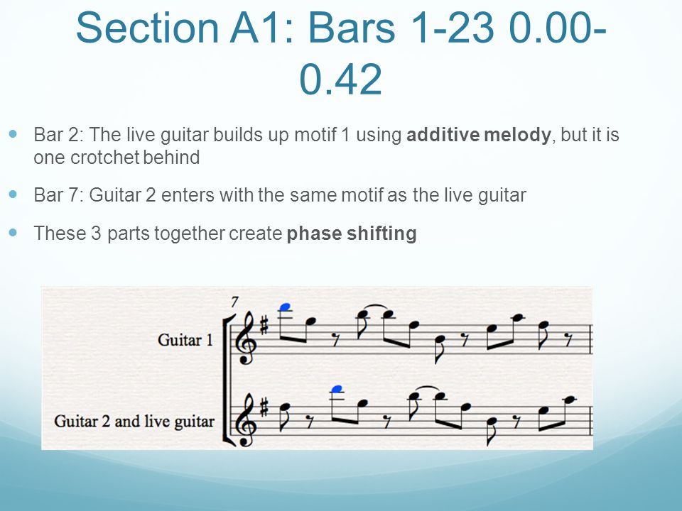 Section A1: Bars 1-23 0.00-0.42 Bar 2: The live guitar builds up motif 1 using additive melody, but it is one crotchet behind.