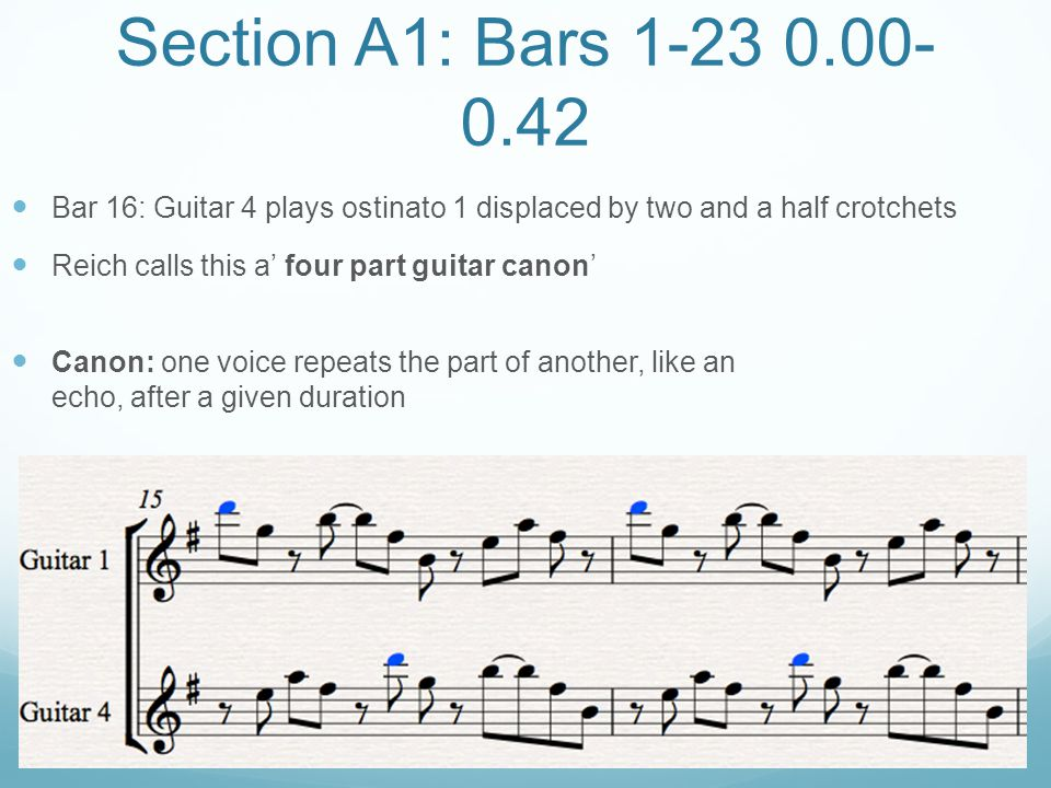 Section A1: Bars 1-23 0.00-0.42 Bar 16: Guitar 4 plays ostinato 1 displaced by two and a half crotchets.