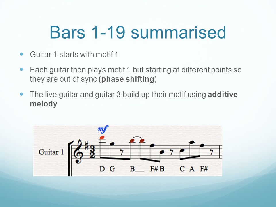 Bars 1-19 summarised Guitar 1 starts with motif 1