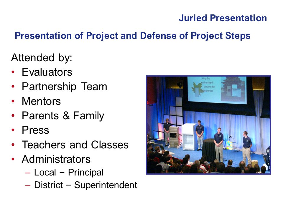 Presentation of Project and Defense of Project Steps