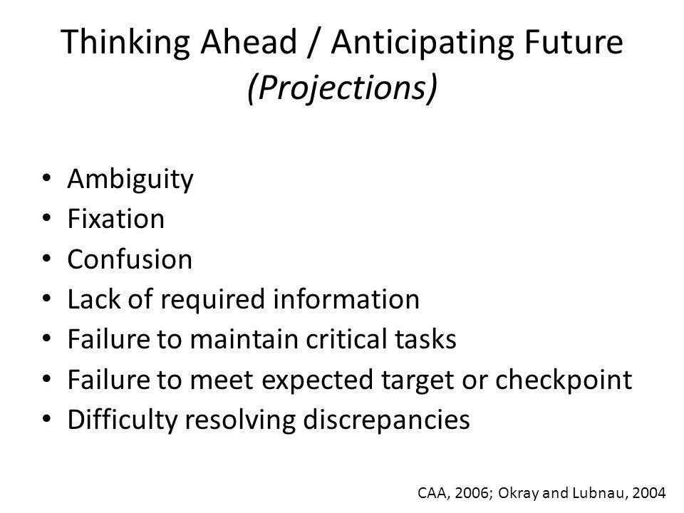 Thinking Ahead / Anticipating Future (Projections)