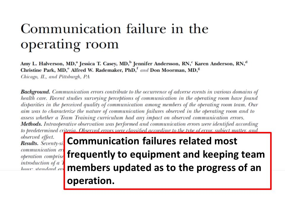 Communication failures related most frequently to equipment and keeping team members updated as to the progress of an operation.