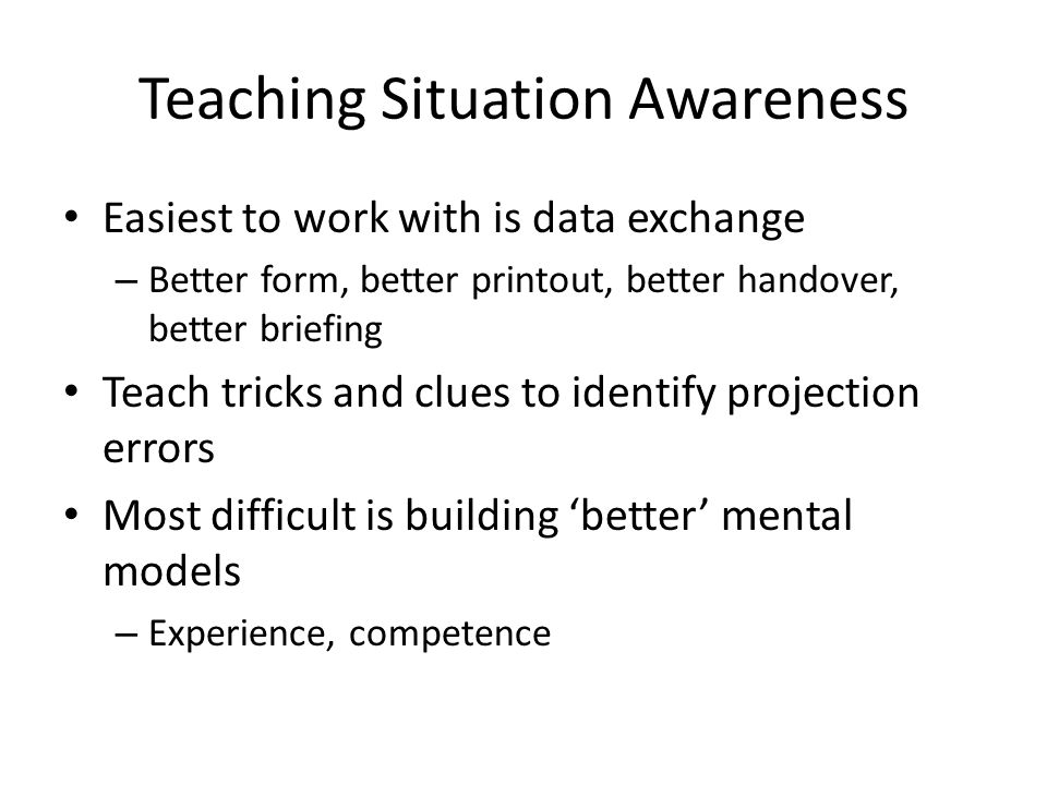 Teaching Situation Awareness