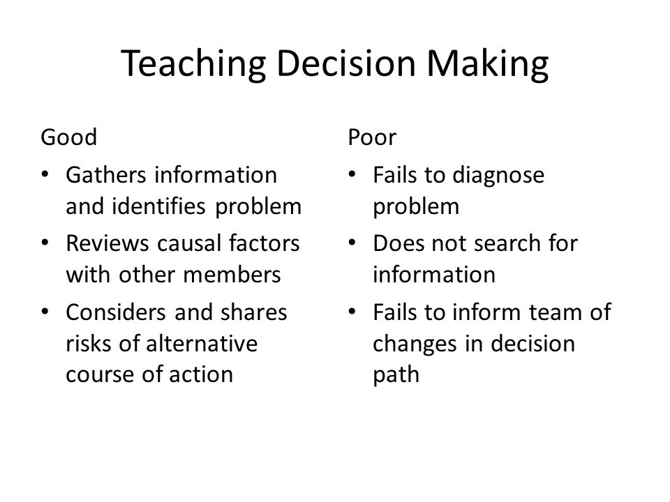 Teaching Decision Making