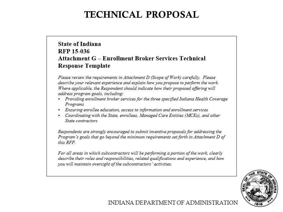 TECHNICAL PROPOSAL INDIANA DEPARTMENT OF ADMINISTRATION