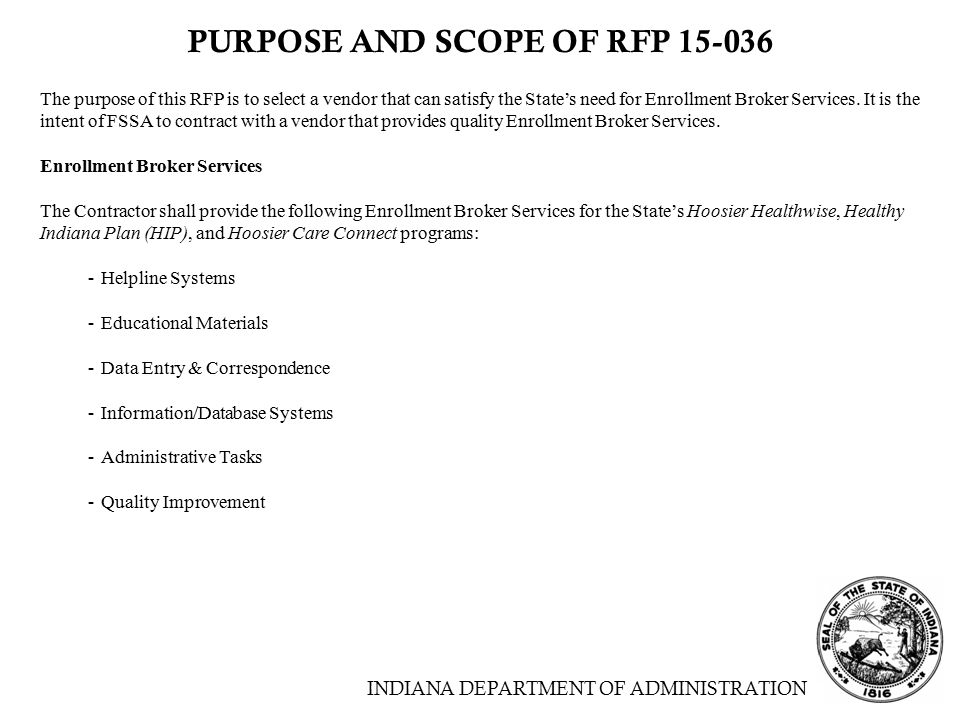 PURPOSE AND SCOPE OF RFP 15-036