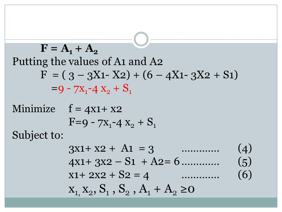 x1, x2, S1 , S2 , A1 + A2 ≥0 Putting the values of A1 and A2