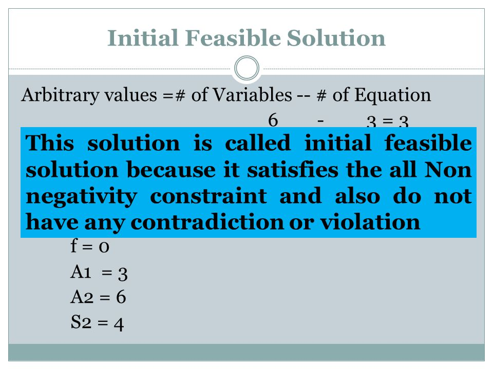 Initial Feasible Solution