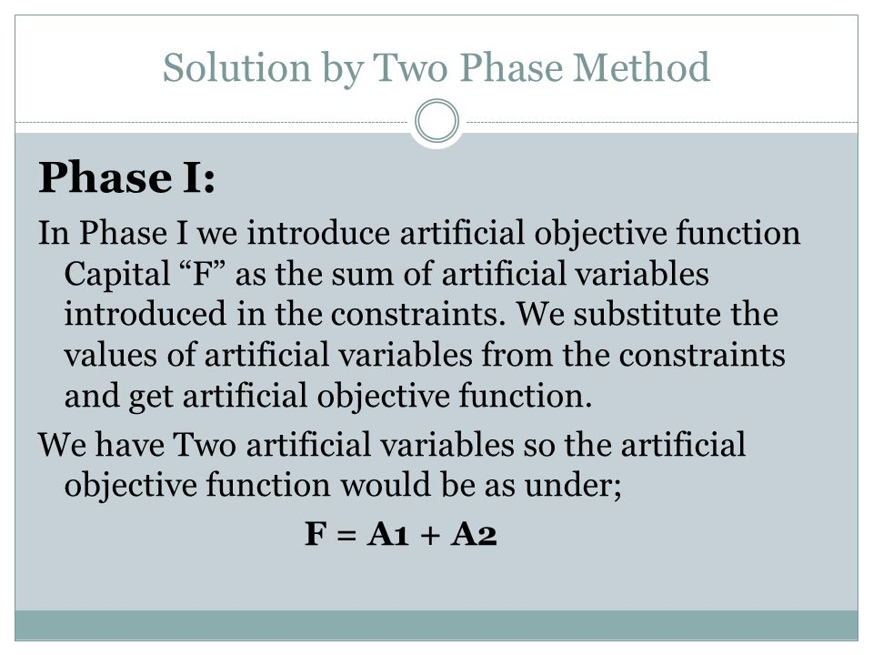 Solution by Two Phase Method