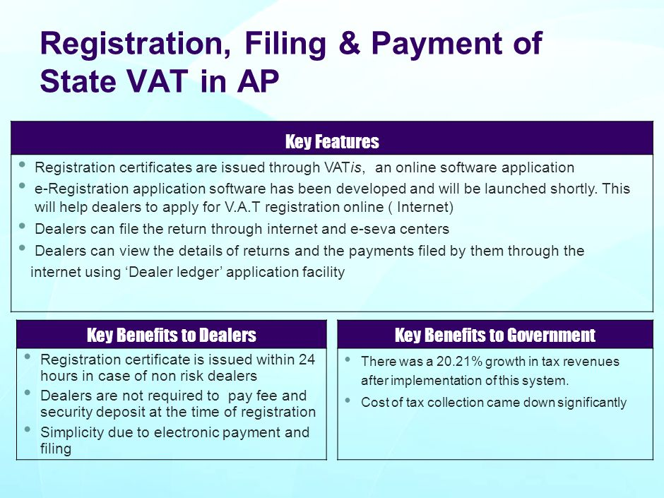 Registration, Filing & Payment of State VAT in AP