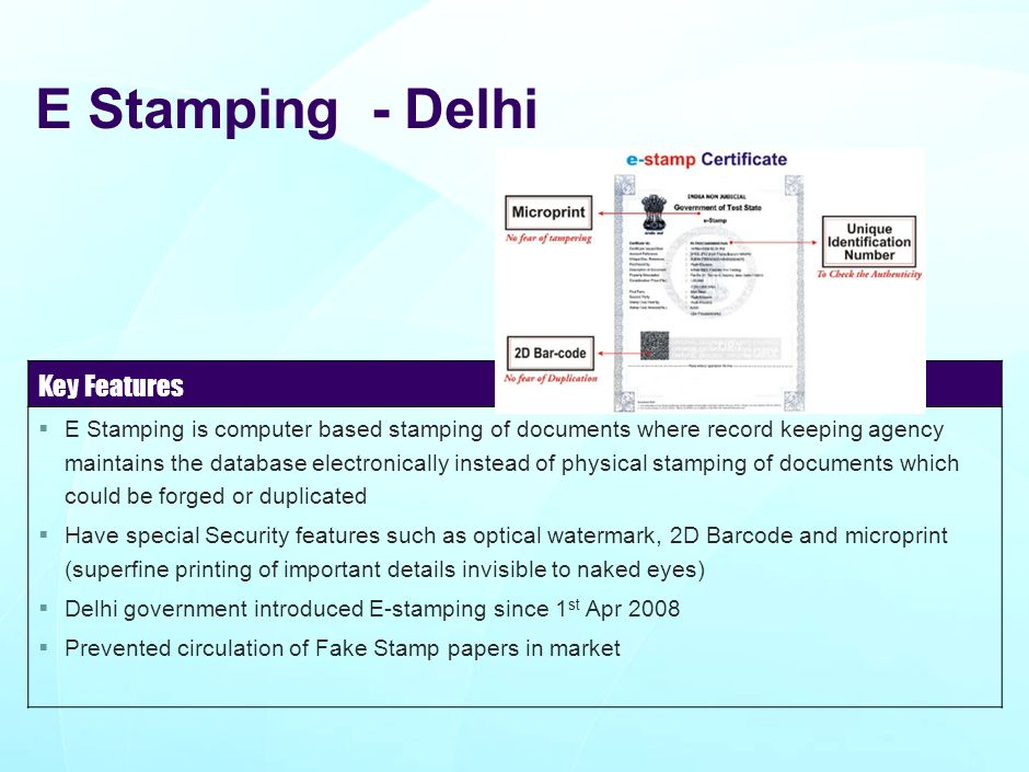 E Stamping - Delhi Key Features