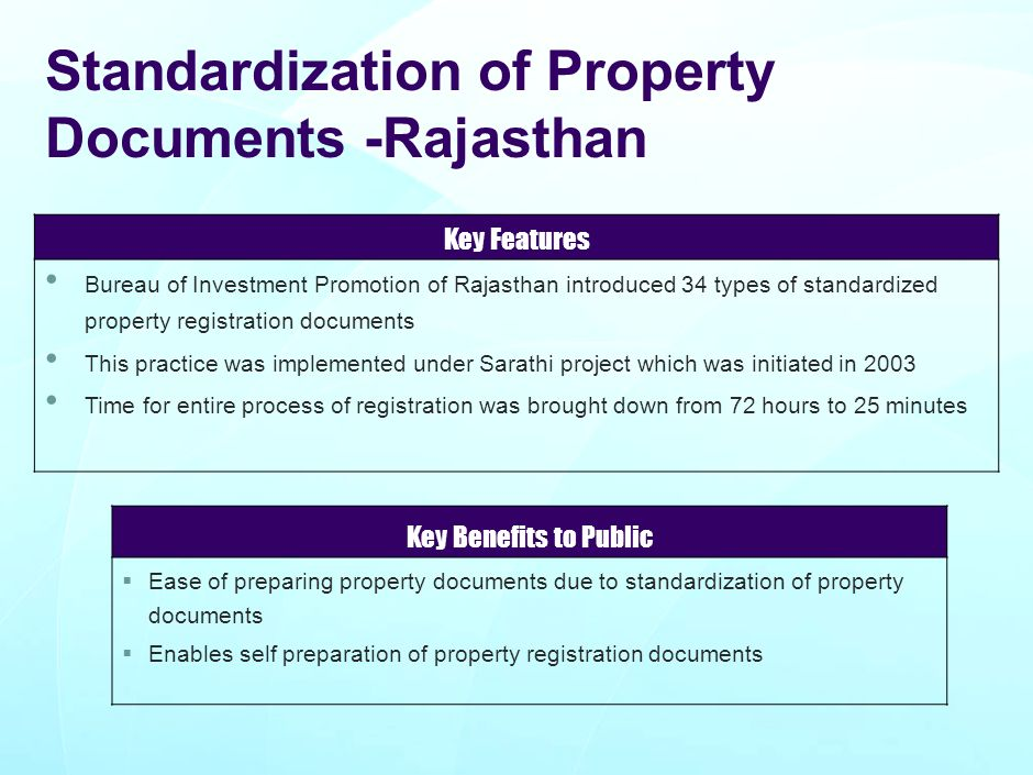 Standardization of Property Documents -Rajasthan