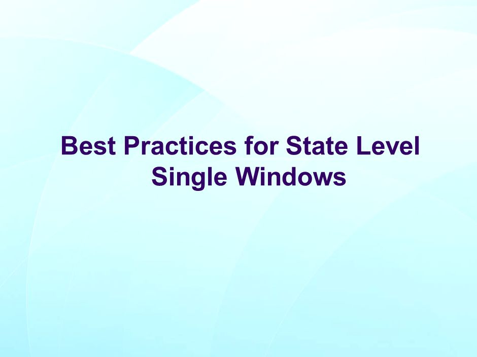 Best Practices for State Level Single Windows