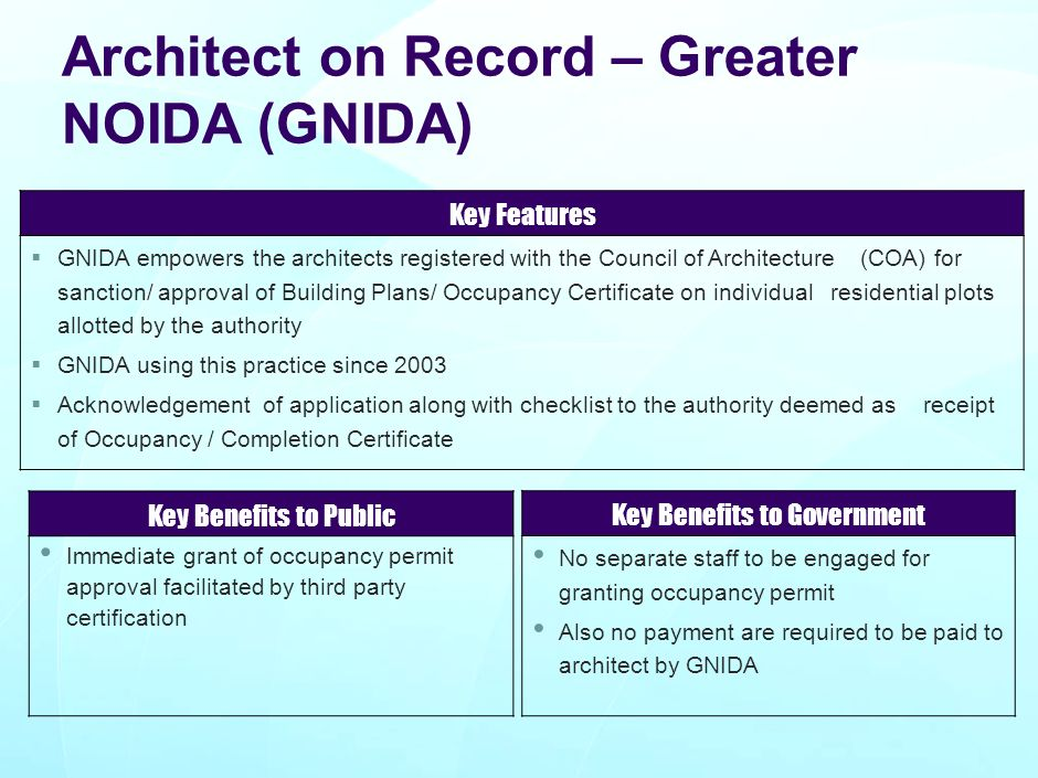 Architect on Record – Greater NOIDA (GNIDA)