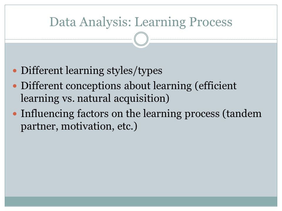 Data Analysis: Learning Process