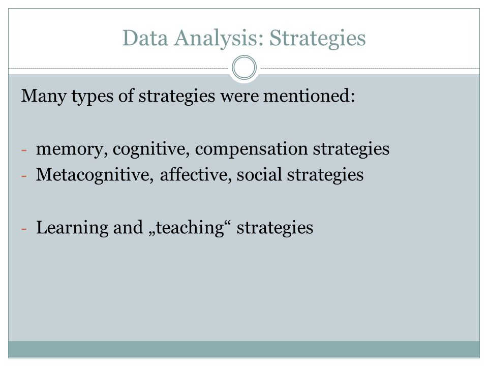 Data Analysis: Strategies