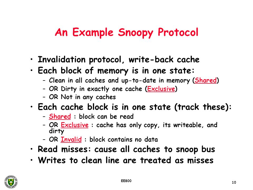 An Example Snoopy Protocol