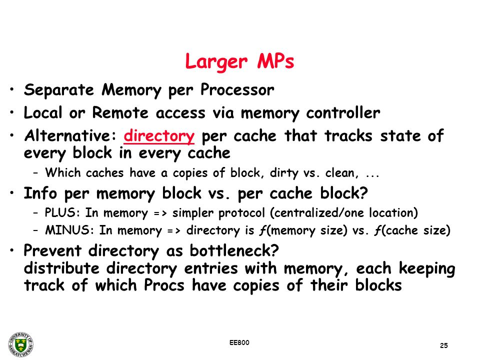 Larger MPs Separate Memory per Processor