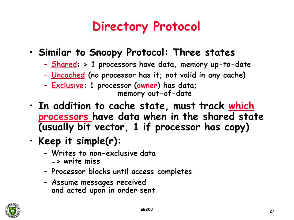 Directory Protocol Similar to Snoopy Protocol: Three states