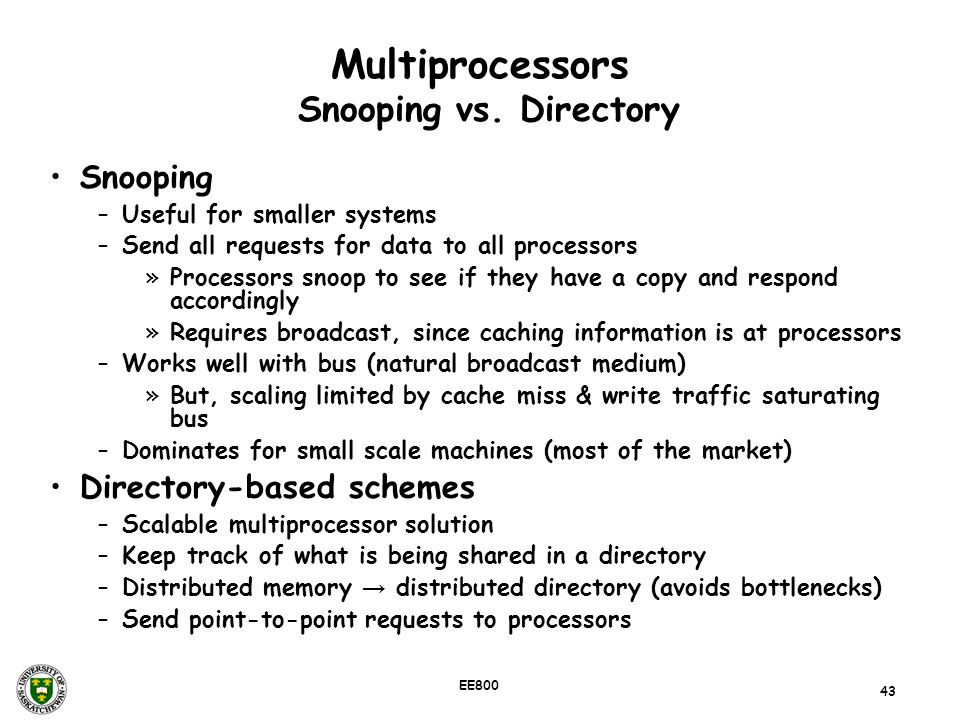 Multiprocessors Snooping vs. Directory