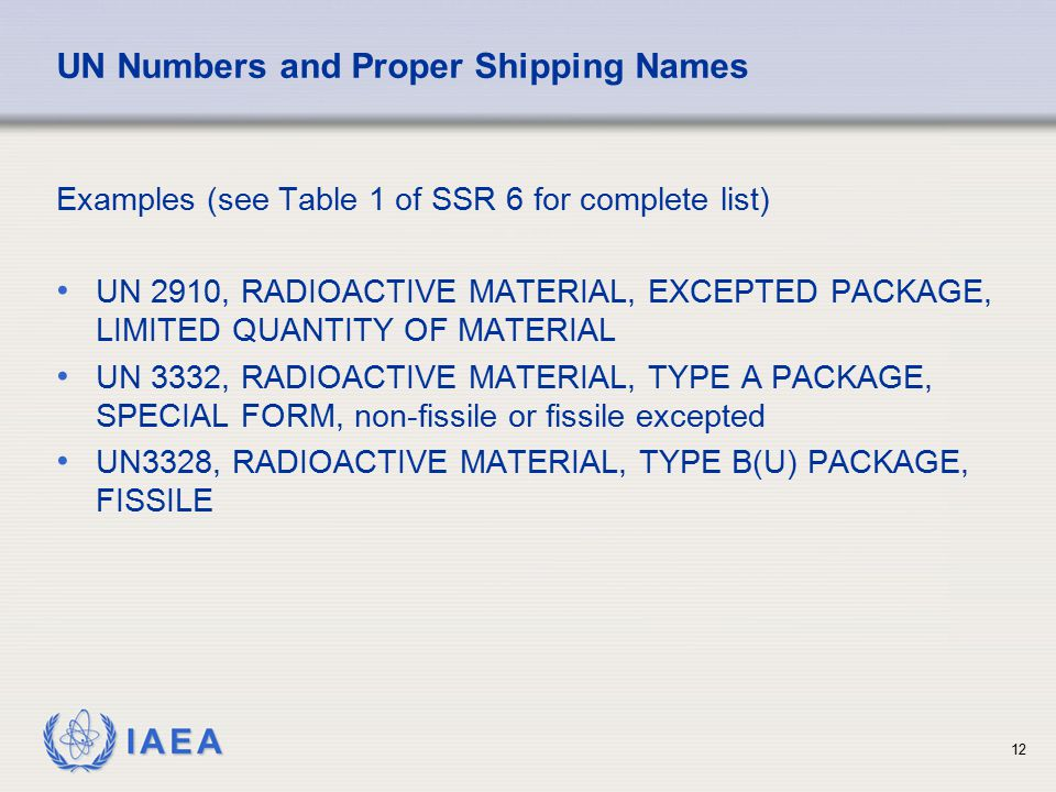 UN Numbers and Proper Shipping Names