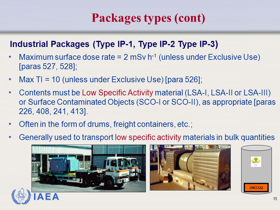 Packages types (cont) Industrial Packages (Type IP-1, Type IP-2 Type IP-3)