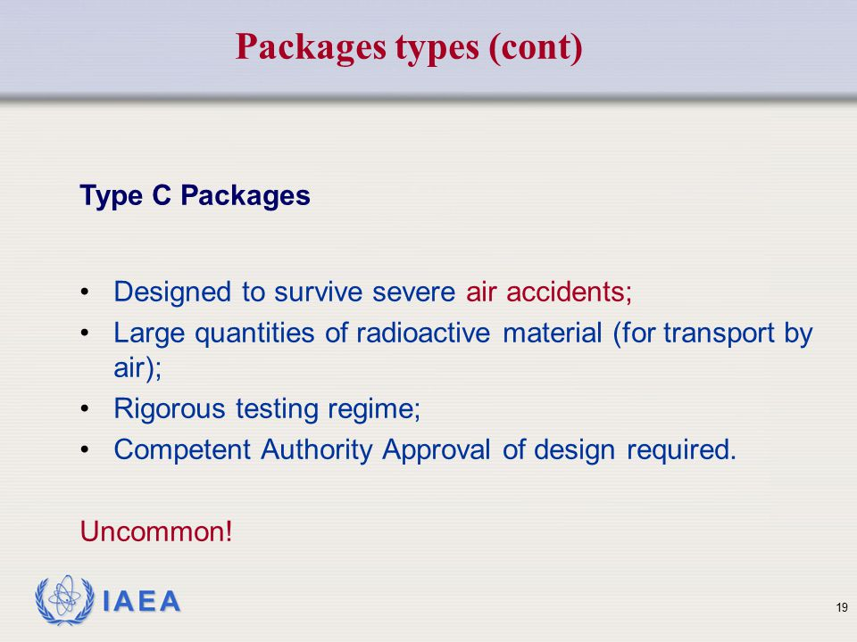 Packages types (cont) Type C Packages