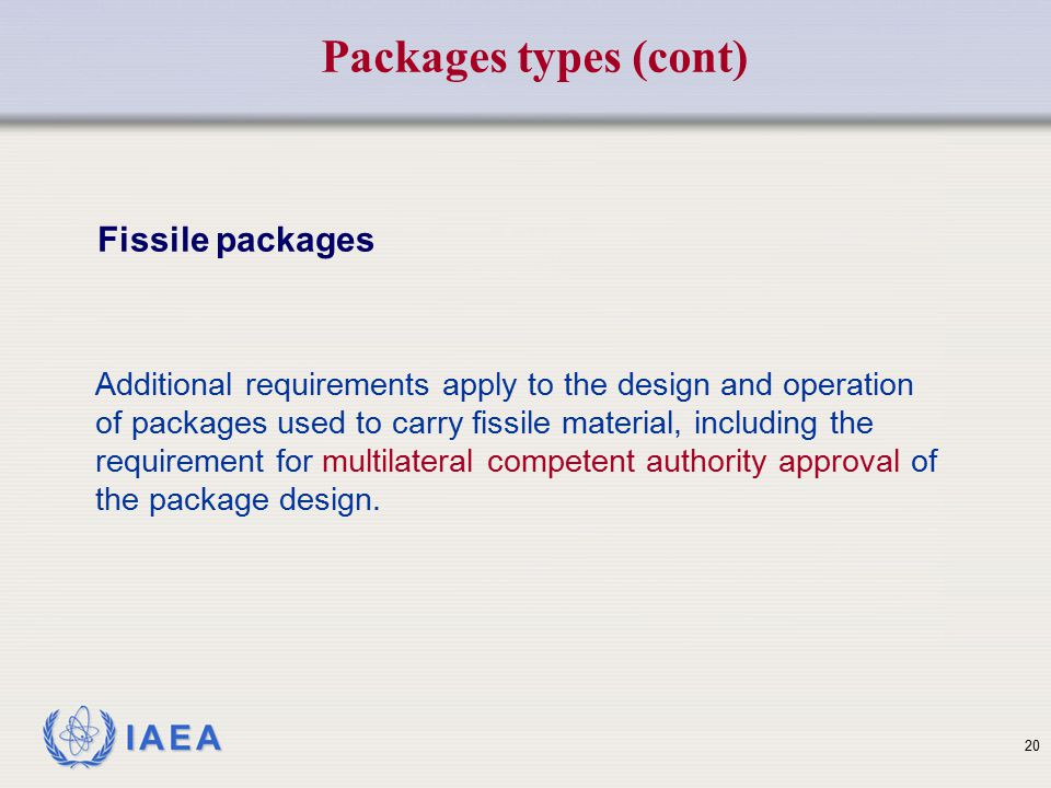 Packages types (cont) Fissile packages