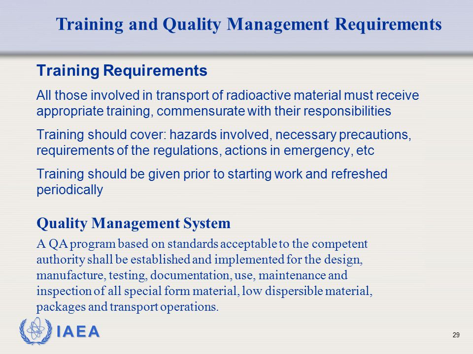 Training and Quality Management Requirements