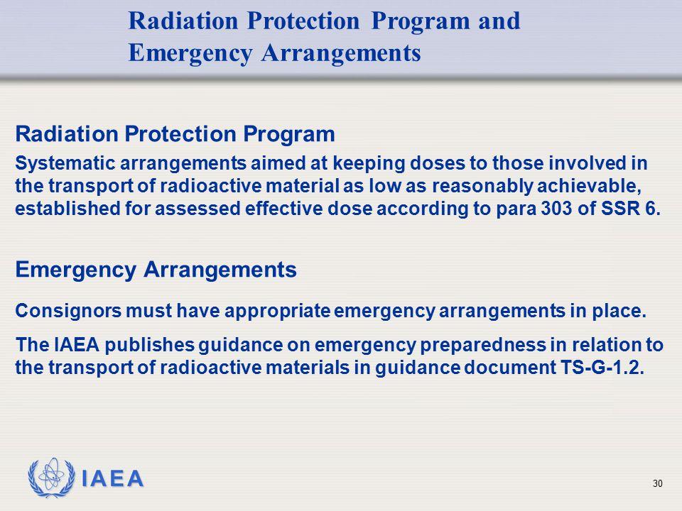 Radiation Protection Program and Emergency Arrangements