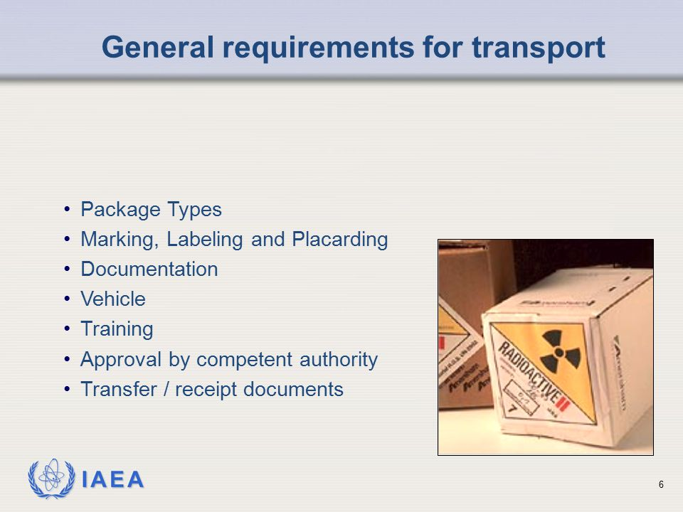 General requirements for transport