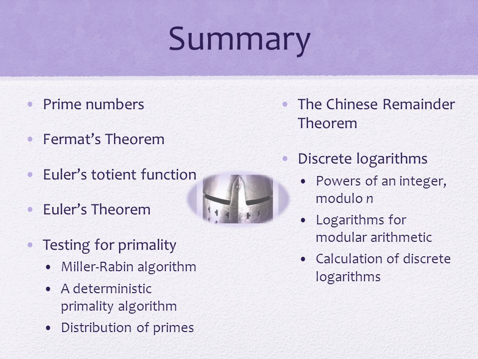 Summary Prime numbers Fermat's Theorem Euler's totient function