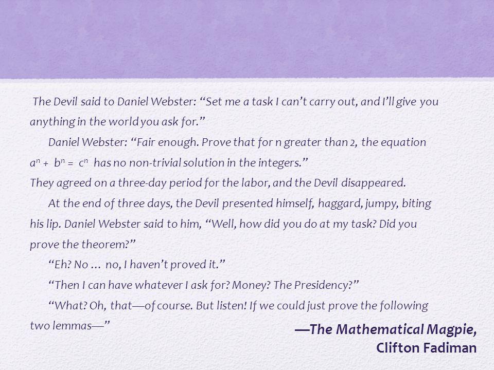 —The Mathematical Magpie, Clifton Fadiman
