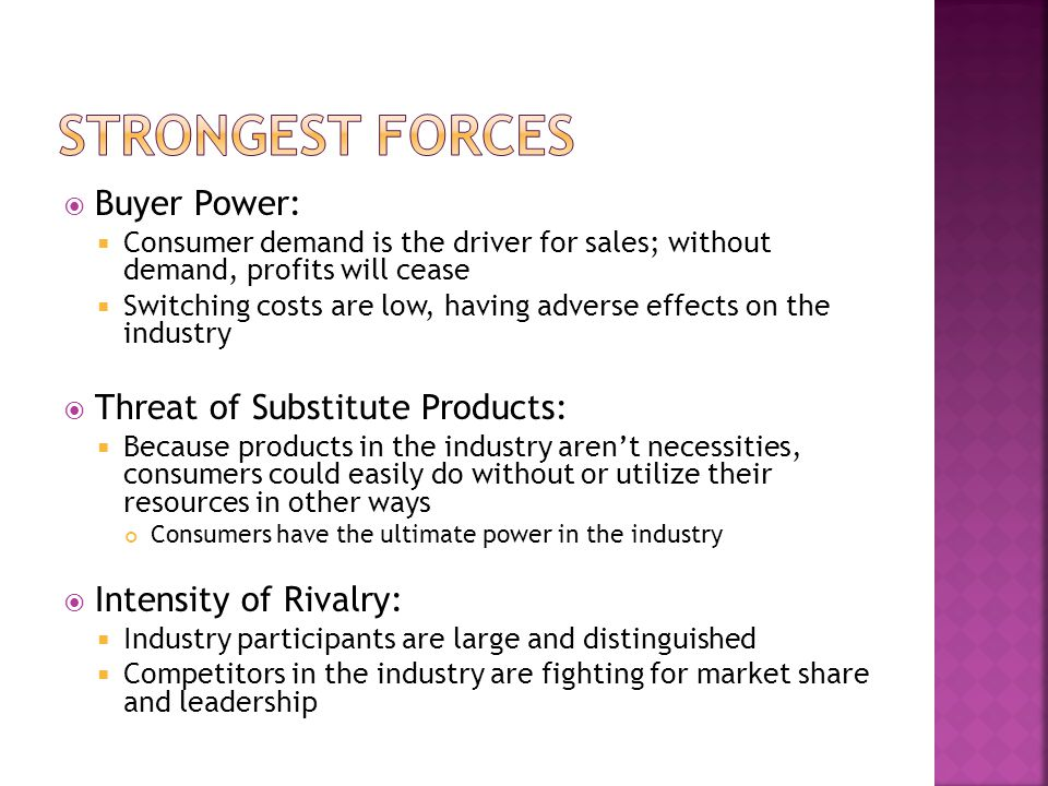 Strongest forces Buyer Power: Threat of Substitute Products: