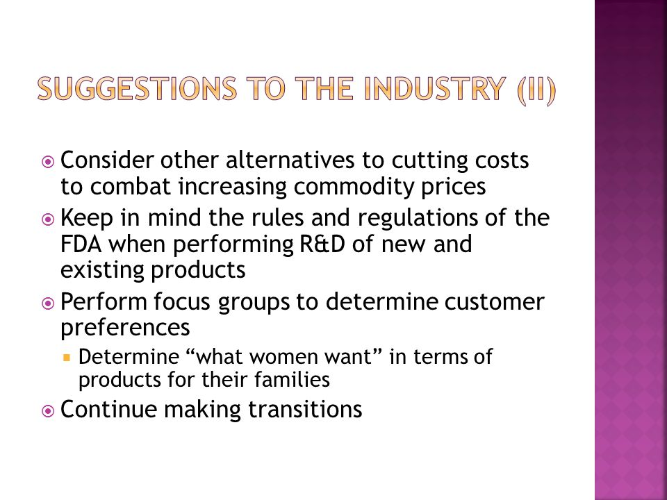 Suggestions to the industry (II)