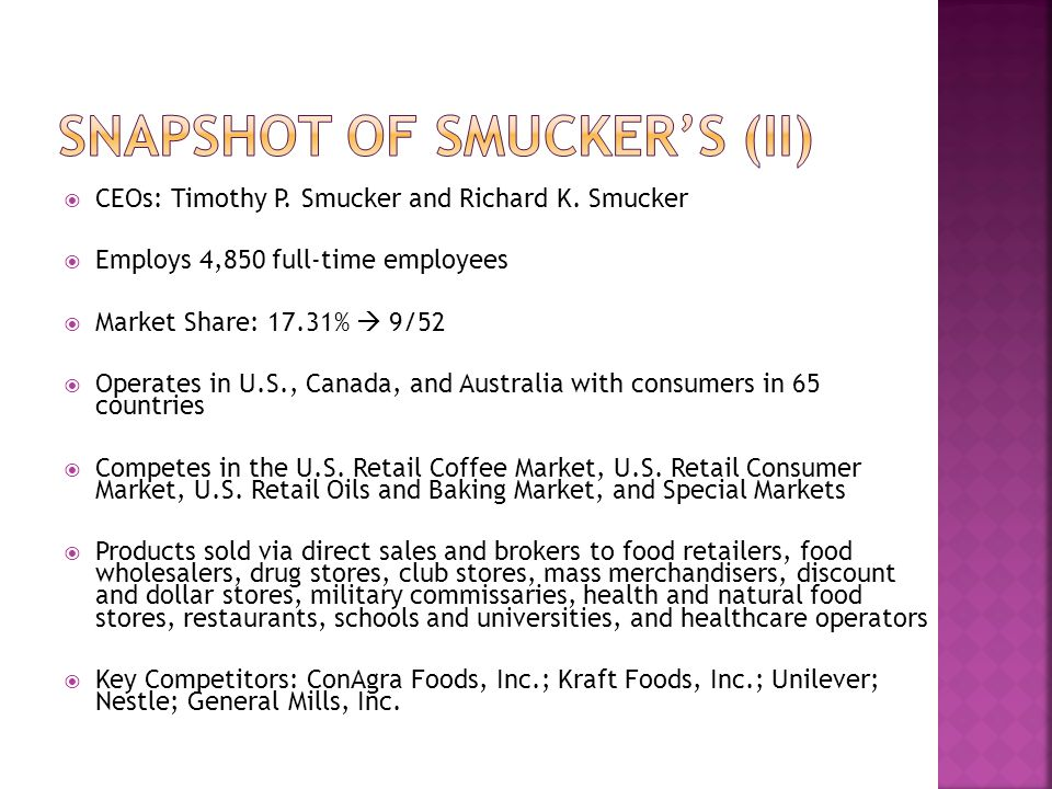 Snapshot of Smucker's (II)