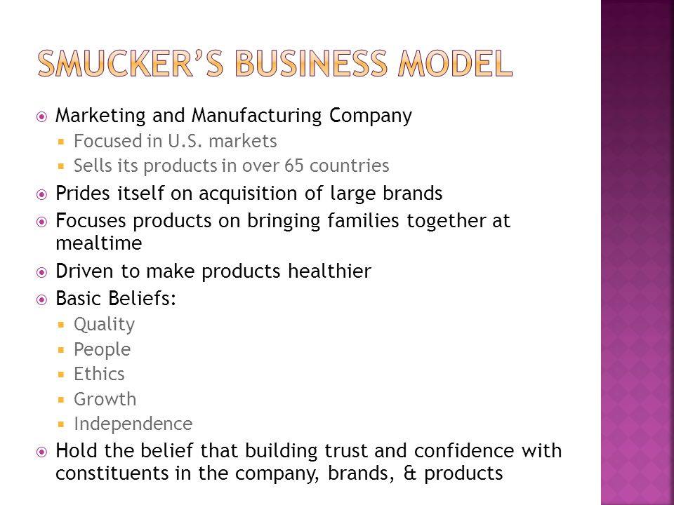 Smucker's Business model