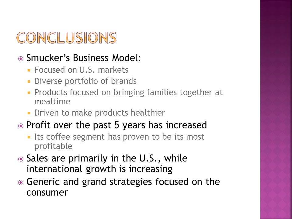 Conclusions Smucker's Business Model: