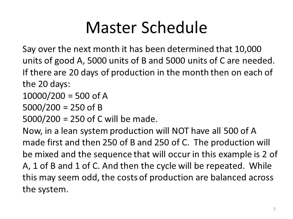Master Schedule Say over the next month it has been determined that 10,000 units of good A, 5000 units of B and 5000 units of C are needed.