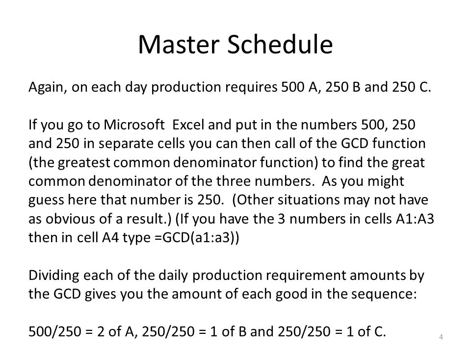 Master Schedule Again, on each day production requires 500 A, 250 B and 250 C.