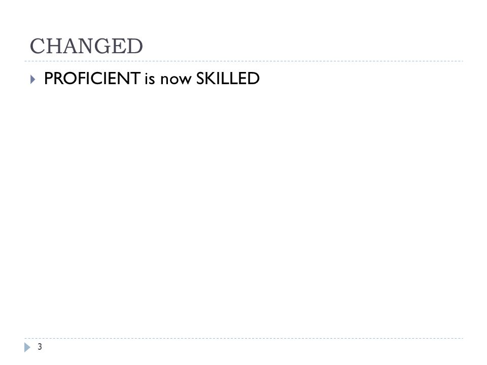 CHANGED PROFICIENT is now SKILLED
